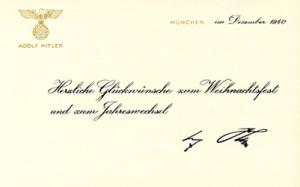 Adolf Hitler Christmas card