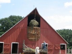 putting up hay at the Living History Farms